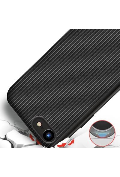 LionTech Apple iPhone 7 Kılıf Striped Soft Tio Silikon Kapak Siyah