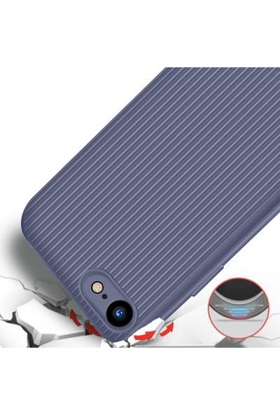 LionTech Apple iPhone 7 Kılıf Striped Soft Tio Silikon Kapak Mor