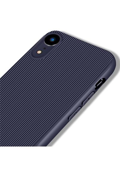 LionTech Apple iPhone XR Kılıf Striped Soft Tio Silikon Kapak Lacivert