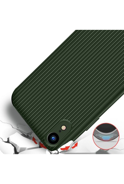 LionTech Apple iPhone XR Kılıf Striped Soft Tio Silikon Kapak Yeşil