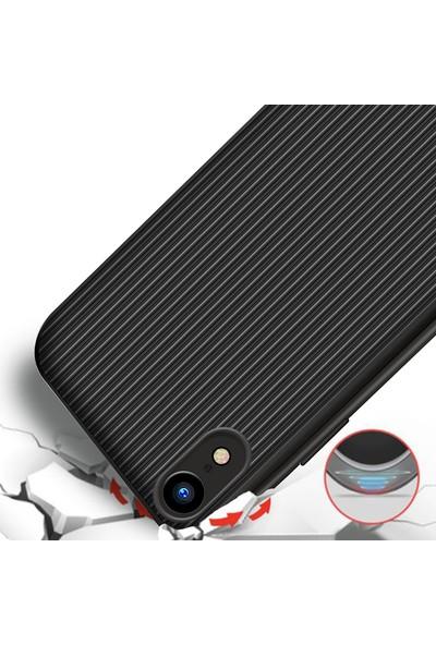 LionTech Apple iPhone XR Kılıf Striped Soft Tio Silikon Kapak Siyah