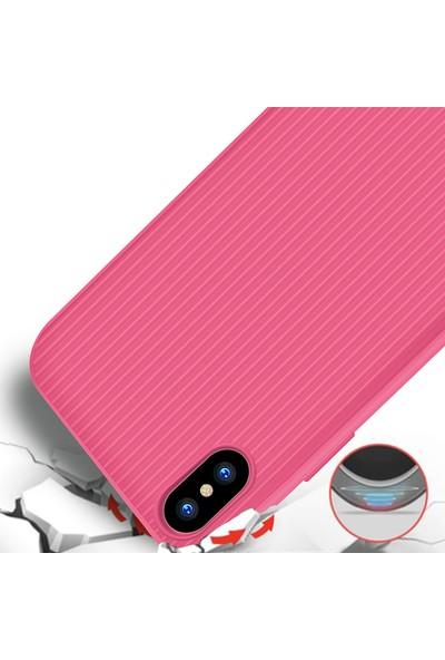 LionTech Apple iPhone X Kılıf Striped Soft Tio Silikon Kapak Pembe