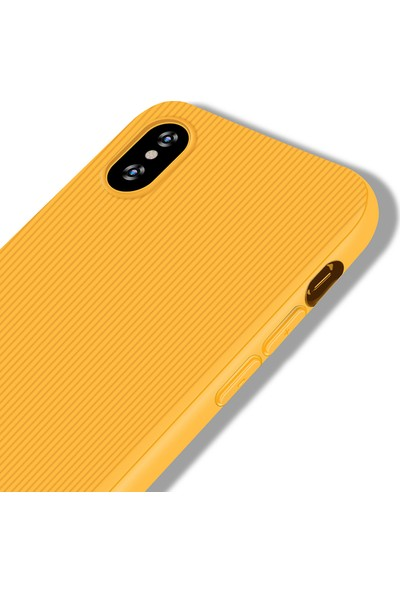 LionTech Apple iPhone X Kılıf Striped Soft Tio Silikon Kapak Sarı