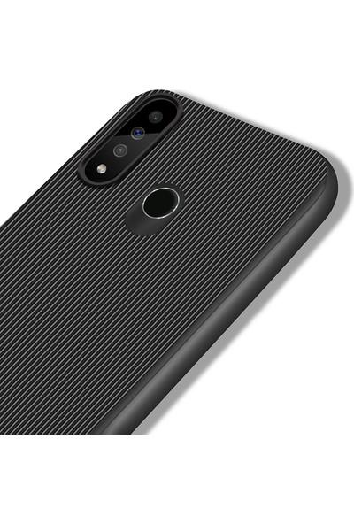 LionTech Huawei P30 lite Kılıf Striped Soft Tio Silikon Kapak Siyah