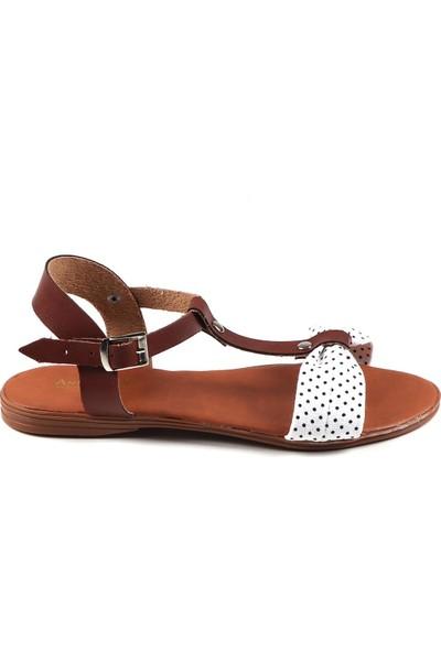 Annamaria Beyaz Puantiyeli Kadın Sandalet