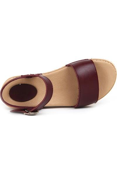 Jasmine Bordo Rahat Taban Günlük Kadın Sandalet