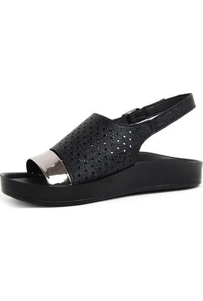 Voga Siyah Rahat Taban Günlük Kadın Sandalet