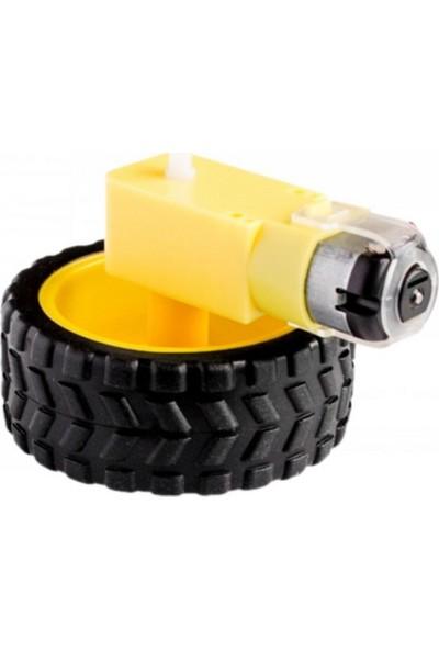 Maker Maker Robot Motor Ve Tekerlek Seti 4 Adet Motor 4 Adet Tekerlek