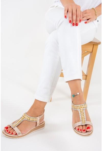 Fox Shoes Altın Kadın Sandalet F490200409