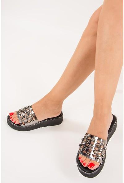 Fox Shoes Platin Kadın Terlik F245001634