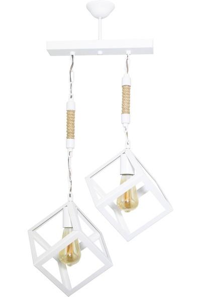 Lambadar Küp Model Beyaz Sarkıt Avize