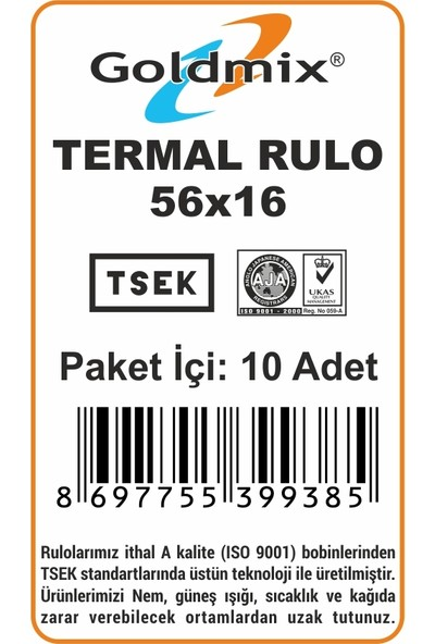 Goldmix Termal Rulo 56X16 Tam Sarım 10'Lu Paket