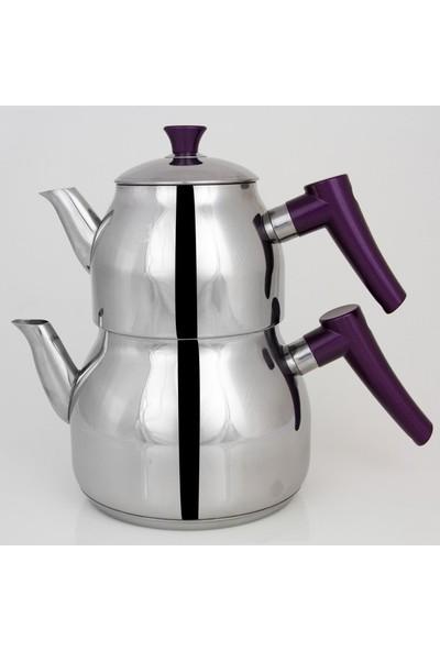 Viola Aile Boy Damla Çelik Çaydanlık