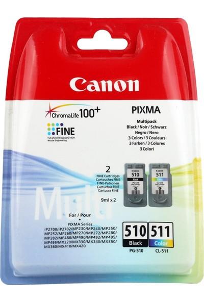 Canon Pg-510Bk + Cl-511 Kartuş 2Li Paket Mp240-250-490-492-495-499
