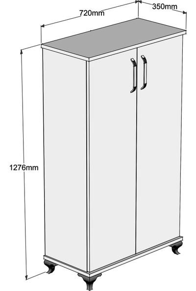 Bimossa R7020 Ceviz Ayakkabılık Çok Amaçlı Raflı Düzenleyici Dolap 120 cm