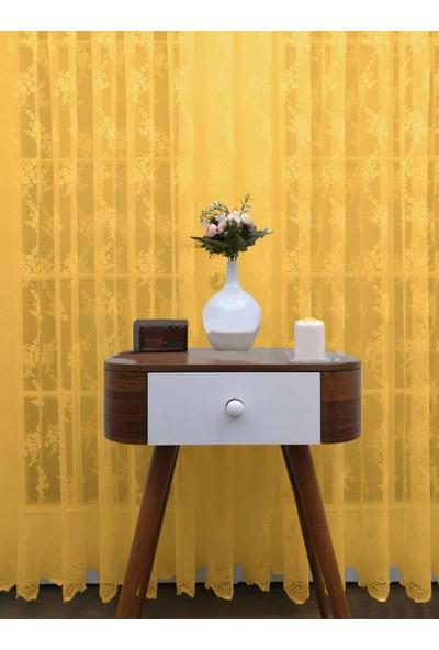 Caserta Home 1/2,5 Orta Pileli Seher Hardal Demet Çiçek Desenli Örme Tül Perde - 75 x 150 cm