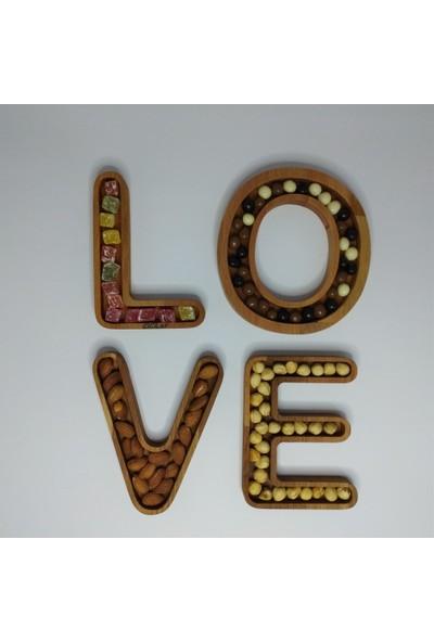 Ciciler Ahşap LOVE Yazılı 4 Parça Çerezlik AHKY18006