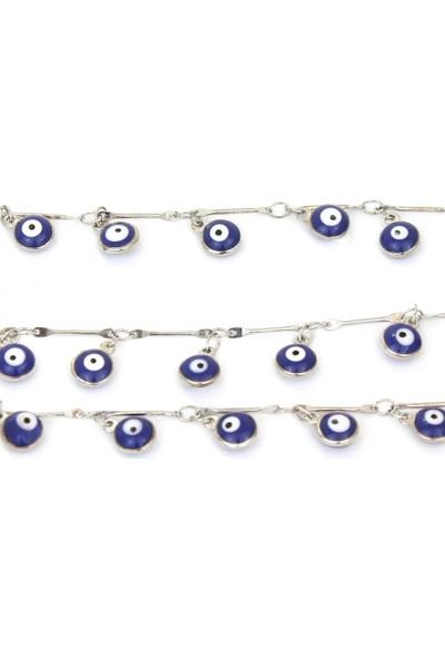 Hane14 Mavi Nazar Boncuklu Gözlük Zinciri Silver