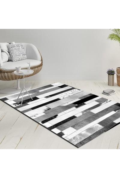 Else Siyah Gri Beyaz Geometrik Dekoratif Modern Yıkanabilir İnce Kilim Halı