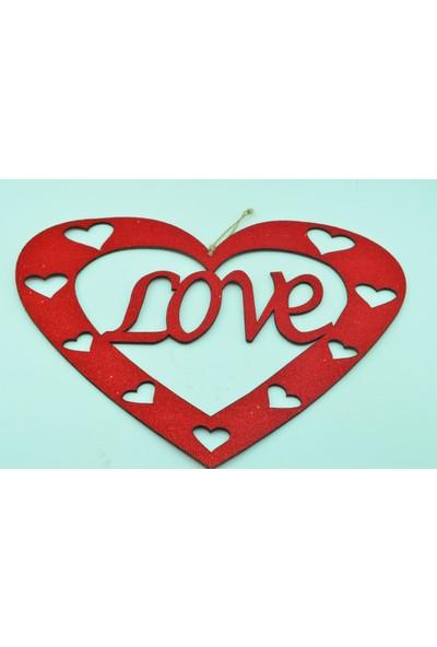 Epapack Simli Kalpli Love Kırmızı 35CMX40CM