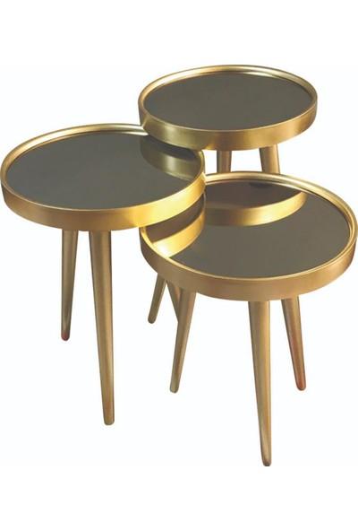 Cs Aksesuar Aynalı Gold 3lü Zigon Sehpa
