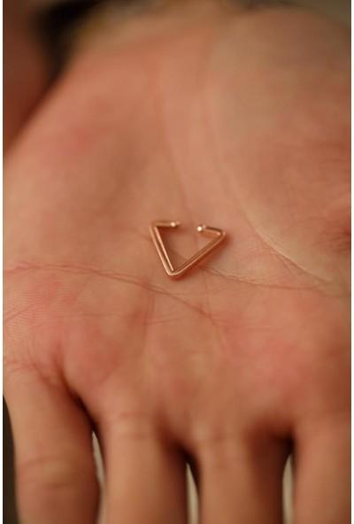 İzla Design Üçgen Model Rose Gümüş Kıkırdak Küpe