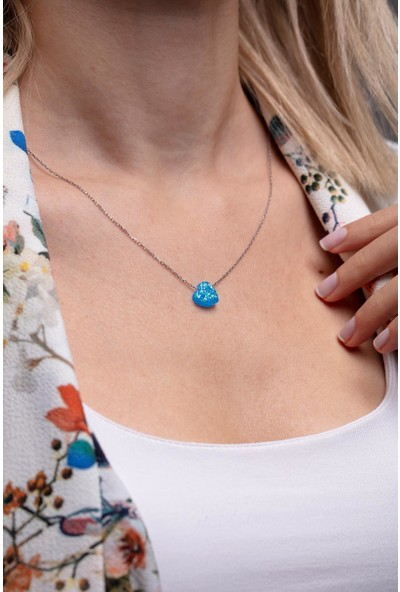 Ninova Silver Lacivert Opal Taşlı Kalp Model Gümüş Kolye