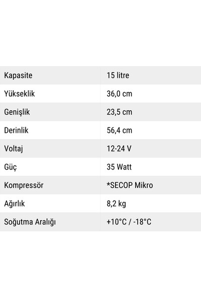 Indelb Tb15 Kompresörlü Oto Buzdolabı 15 Lt.