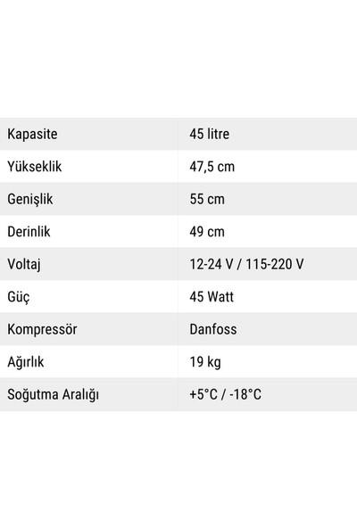 Indelb Tb45 Kompresörlü Oto Buzdolabı 45 Lt.