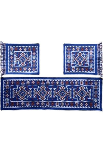 Lidya Tekstil Renk Oto Koltuk Kilim Seti Mavi Renk - Ön Ve Arka Koltuk 3 Parça Takım