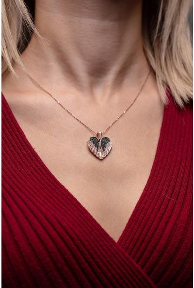 Ninova Silver Kanatlı Kalp Model Rose Kaplama Gümüş Kolye