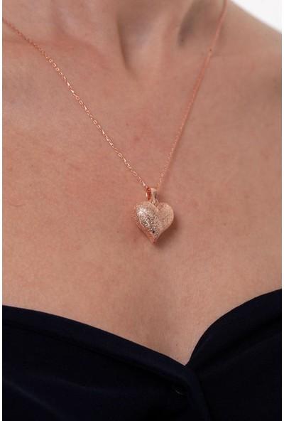 Ninova Silver El İşi Kalp Model Rose Kaplama Gümüş Kolye