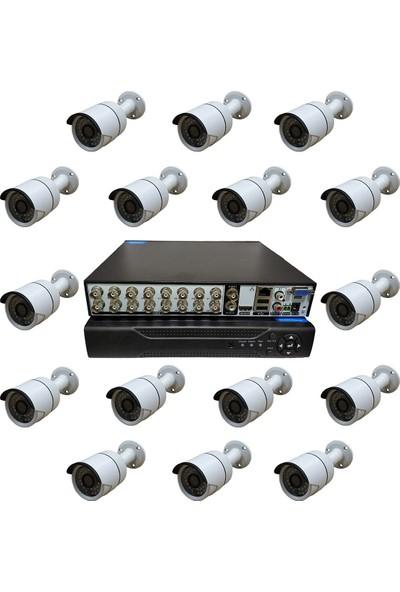 Elcam Dış Mekan 16 Kameralı Set Gece Görüşlü Güvenlik Kamerası 2mp Ahd Metal Kasa