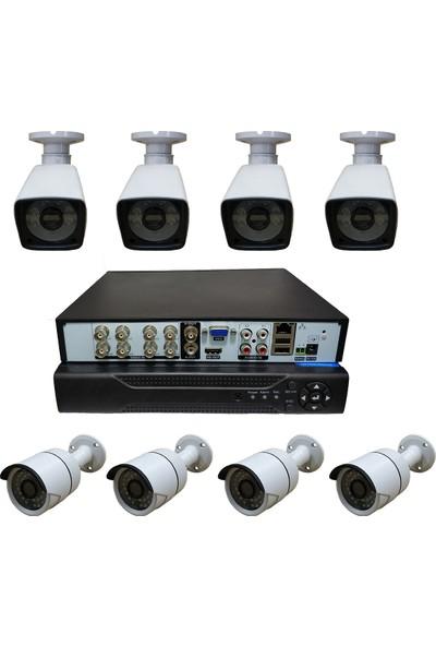 Elcam 8 Kameralı Set Gece Görüşlü Güvenlik Kamerası 2mp Ahd 4 Plastik 4 Metal Kasa