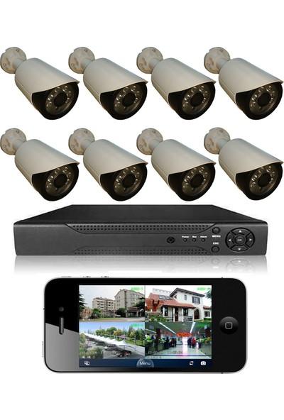 Elcam 8 Kameralı Set Gece Görüşlü Güvenlik Kamerası 2mp Ahd Dvr Plastik Kasa