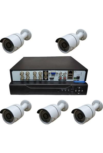 Elcam Dış Mekan 5 Kameralı Set Gece Görüşlü Güvenlik Kamerası 2mp Ahd Metal Kasa