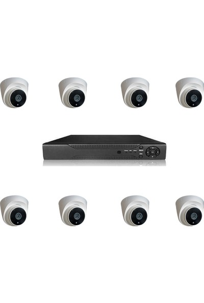 Elcam Dome Gece Görüşlü Güvenlik Kamera Seti Iç Ortam 8 Kameralı Set 2mp Ahd