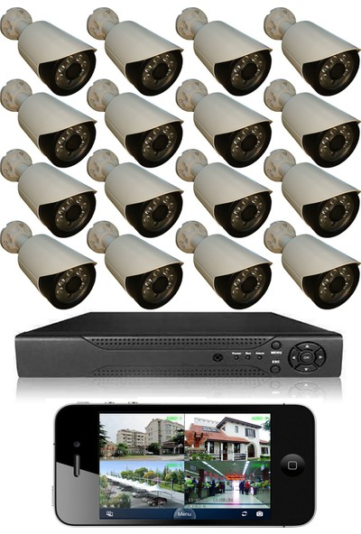 Elcam 16 Kameralı Set Gece Görüşlü Güvenlik Kamerası 2mp Ahd Dvr Plastik Kasa