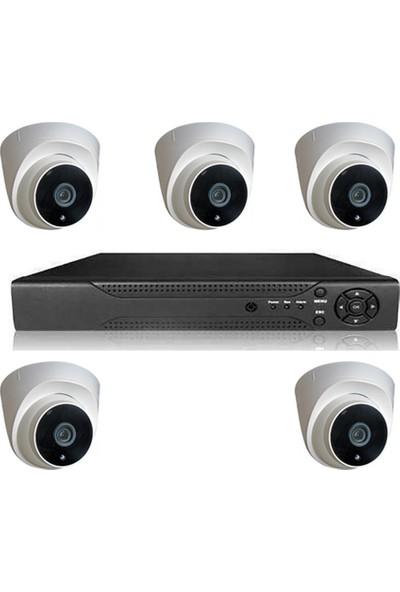 Elcam Dome Gece Görüşlü Güvenlik Kamera Seti Iç Ortam 5 Kameralı Set 2mp Ahd