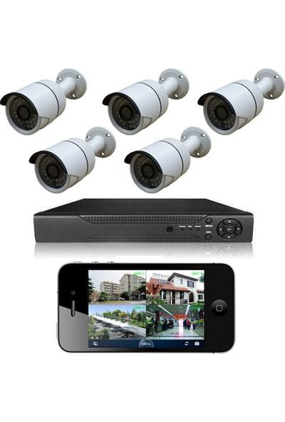 Elcam 5 Kameralı Set Gece Görüşlü Güvenlik Kamerası 2mp Ahd Dvr Plastik Kasa