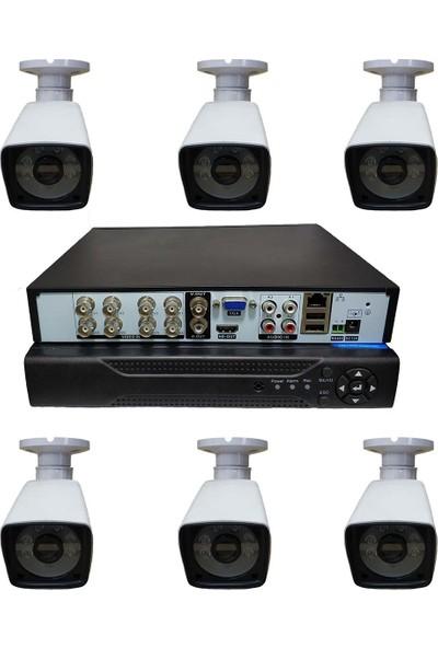 Elcam 6 Kameralı Set Gece Görüşlü Güvenlik Kamerası 2mp Ahd Dvr Plastik Kasa
