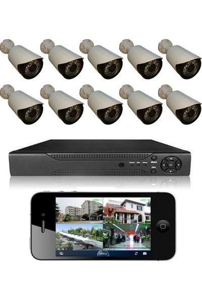 Elcam 10 Kameralı Set Gece Görüşlü Güvenlik Kamerası 2mp Ahd Dvr Plastik Kasa