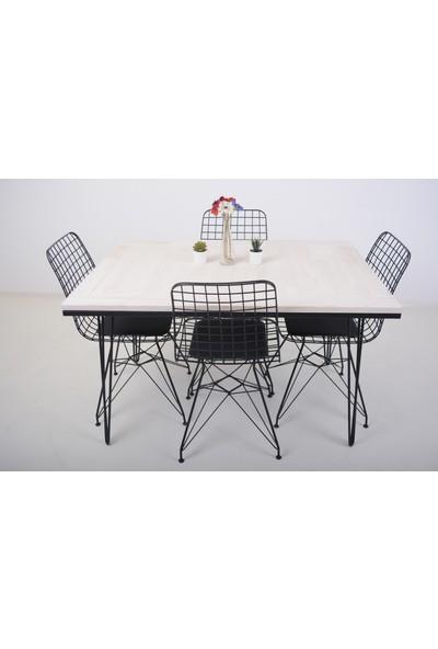 Mobildeco Yonca Ahşap Masif Yemek Masa Mutfak Masası Beyaz