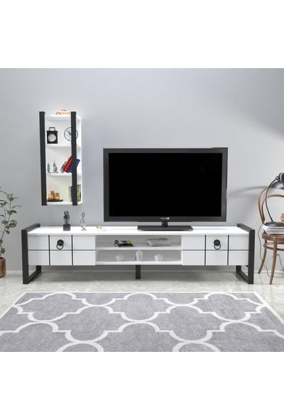 Mobildeco Fantastic 3 Raflı Tv Sehpası Televizyon Ünitesi Beyaz