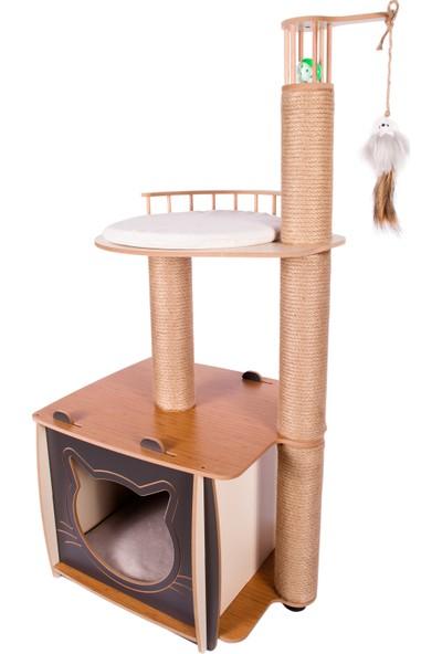 Patihomes XL Lâl Katlı Tırmalamalı Kedi Evi Gri