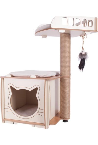 Patihomes XL Lâl Yataklı Tırmalamalı Kedi Evi Bej