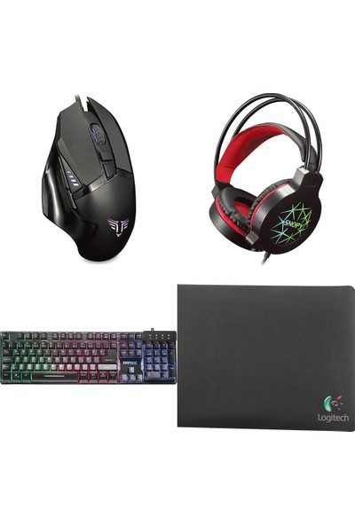 Everest Tkz-Log-Gx9 Klavye Mouse Kulaklık Logitech Mouse Pad'li Gaming Set