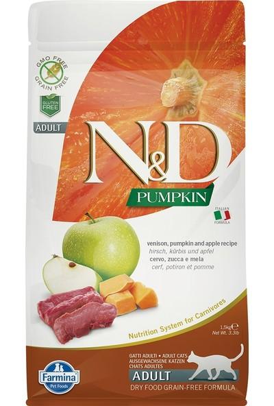 N&D Pumpkin Tahılsız Geyik Etli Bal Kabaklı ve Elmalı Yetişkin Kedi Maması 1,5 Kg