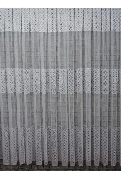 Caserta Home 1/2 Seyrek Pileli Kdk Begonya Ara Kortlu Beyaz Tül Perde - 100 x 150 cm
