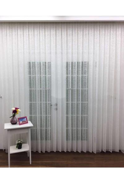 Caserta Home 1/2 Seyrek Pileli Omeron Serpme Şantuk Beyaz Tül Perde - 100 x 150 cm